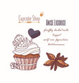hand drawn cupcake with stars of anise vector image vector image