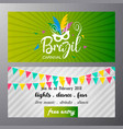 happy brazilian carnival day green and white vector image