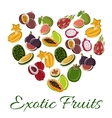 Heart with exotic fruit poster vector image vector image