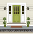 house door front with doorstep and mat steps lamp vector image