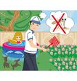 hunt for mosquitoes in the garden vector image vector image