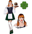 irish girl with beer vector image