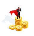 isometric businessman standing on stack of money vector image vector image