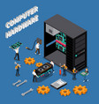it engineer isometric compoisition vector image vector image