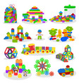 kids building blocks baby toys colorful vector image