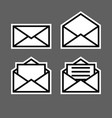 letter envelope symbols icons white outline set 2 vector image vector image