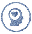 love thinking head rounded fabric textured icon vector image vector image