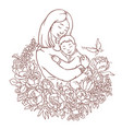 mother with her little son adult coloring page vector image