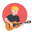 musician playing guitar blonde boy guitarist is vector image vector image