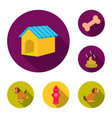 Pet dog flat icons in set collection for design
