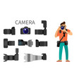 photographer and gear with flash and zoom function vector image vector image
