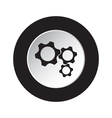 round black and white button - three cogwheel icon vector image