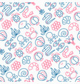 seafood seamless pattern with thin line icons vector image vector image