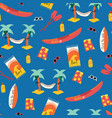 Seamless pattern with palm tree hammock