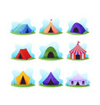 set cartoon camping and circus tents colorful vector image