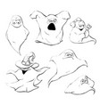 set of ghost characters emoticons isolated vector image vector image