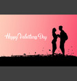 silhouette black couple holding hands over pink vector image