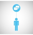 silhouette man bubble speech social network design vector image