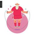 sporting santa - rope jumping vector image