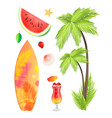 surfing board summertime icons vector image vector image