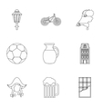 Tourism in Holland icons set outline style vector image vector image