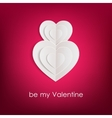 Valentines day background with white paper hearts vector image vector image