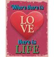 Valentines Day Poster Retro Vintage design Where vector image