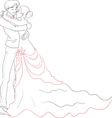 Wedding embracing couple vector image vector image