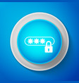 white password protection icon on blue background vector image vector image