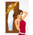 woman standing near the door vector image vector image