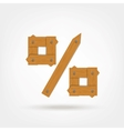 Wooden Boards Percentage Sign vector image vector image