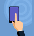 hand touching a smartphone display flat vector image