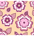 Nature seamless pattern with pink sakura and leaf vector image