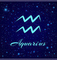 aquarius zodiac sign on a night sky vector image vector image