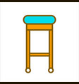 bar chair with blue seat and wooden legs vector image