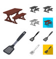 barbecue and equipment cartoonblackflat vector image vector image