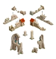 Big set of medieval buildings isometric game art vector image vector image