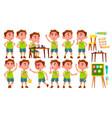 boy kindergarten kid poses set preschool vector image vector image