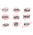 butchery or meat shop icons silhouettes with signs vector image vector image