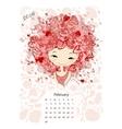 Calendar 2016 february month Season girls design vector image