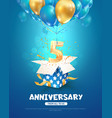 celebrating 5 th years birthday 3d vector image vector image