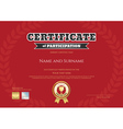 Certificate of participation in red sport theme vector image vector image