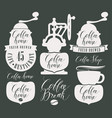 character set for coffee house with coffee grinder vector image vector image