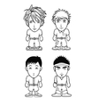 chibi avatar bw collection vector image vector image