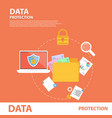 data protection flat icons concept banner template vector image vector image