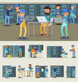 datacenter professional workers collection vector image vector image