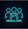 doctor team neon icon medical care neon concept vector image vector image