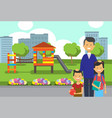 father daughter son portrait avatar city park vector image