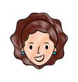 female face cartoon woman profile people vector image vector image
