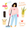 funny flat housekeeper girl sad and unhappy vector image vector image